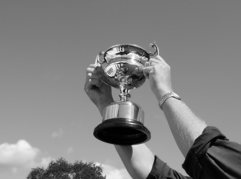 person holding up a trophy to the sky