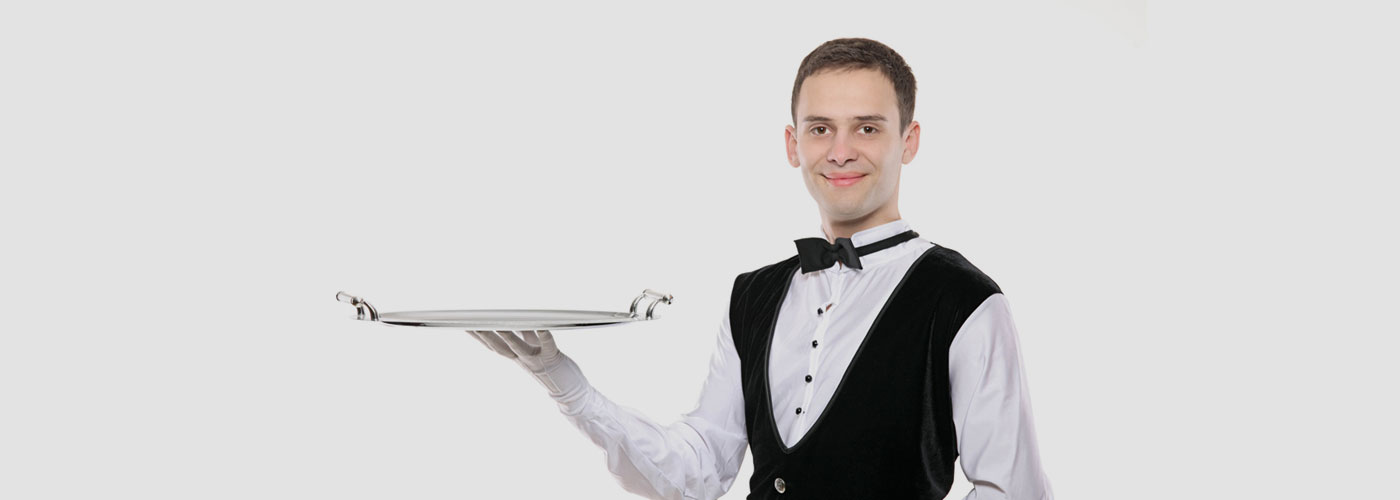 Man dressed as server with silver platter